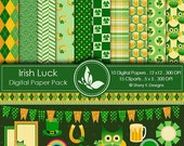 40% off Irish Luck Paper Pack - 10 printable Digital Scrapbooking papers - 12 x12 - 300 DPI