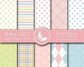 50% off Baby Girl 2 Paper Pack - 10 Printable  Digital paper - 12 x12 - 300 DPI //////2