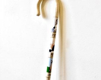 Pet - Portrait -  Hiking Stick - Walking Stick - Walking Cane - Crook Handle - Hand Painted -