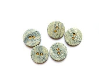 4 Marbled Pastel Blue Buttons, Gold, Vintage Buttons