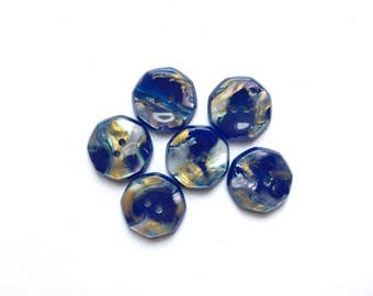 6 Iridescent Blue Marbled Buttons, French Vintage