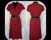 ON SALE Vintage 1950s Abby Kent Dress Sz S W28 Fitted Belted Pleated Skirt Cap Sleeve Dark Red