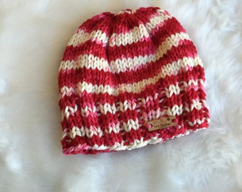 Red and White Striped Hand Dyed Pure Merino Soft Knit Beanie Hat