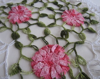 Vintage Crochet Flower Doily Crocheted Pink Floral