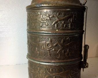 Antique Ottoman Arabic Islamic Copper Lunch Box Tiffin brass bento