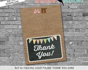 boots or bows lace country rustic burlap 1410 227 chalkboard THANK YOU CARD folded digital printable baby shower birthday stationary