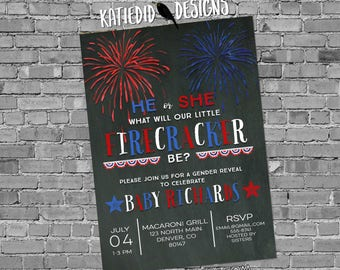 Gender reveal fireworks Patriotic invitations baby shower 4th of july red white due birthday bunting banner BBQ party 1477 invitations