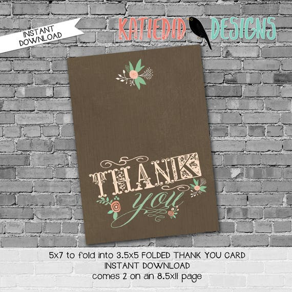storybook once upon a time tribal 1379 mint coral flower THANK YOU CARD folded digital printable baby shower sprinkle birthday stationary