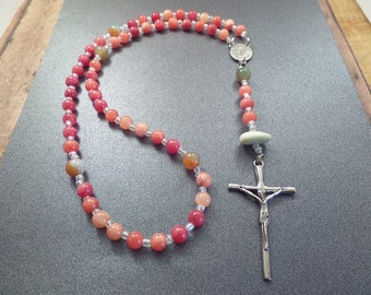 Scottish Rosary with Coral Colored Beads and Scottish Iona Marble Healing Protection Beach Pebble Christian Gift