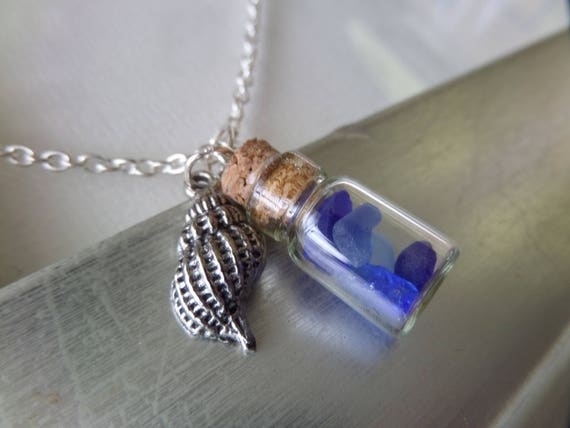 Scottish Sea Glass Bottle Necklace in Blue with Sea Shell Charm, Fairy Bottle, Vial Pendant from Scotland