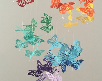Spiral Butterfly Chandelier Mobile - Rainbow, nursery mobile, baby girl mobile, photo prop, baby mobile, 3D mobile