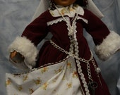 18 in doll clothes Tudor style over dress hood under skirt under dress neck scarf necklace belt charms maroon lace roses