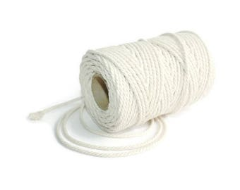 2,5 mm Cotton Rope = 1 Spool = 100 Meters = 110 Yards Natural and Elegant COTTON Twisted CORD - Natural Soft White - Macrame Cord