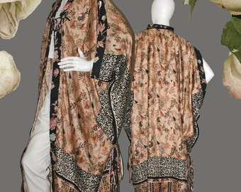 Art to Wear 20s Paris Style Fully Lined Opera Coat, Dressing Gown Kimono Robe in Vintage Handprinted Sari Silks One of a Kind & One Size