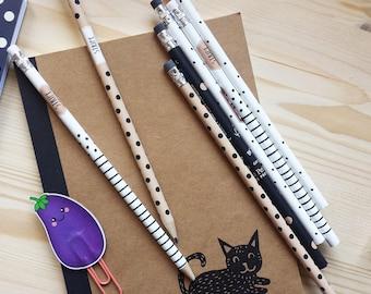 Set of 2 Pencils, 2 Pencils 7 inch, Planner Accessories, Vintage Pencils, Planner Pencils, Stationery, Planner Supplies, Retro Pencils