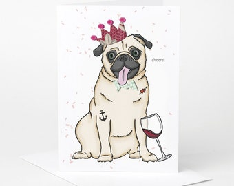 Pug Dog Card (pug birthday card, dog celebration card, funny pug card, pug illustration)