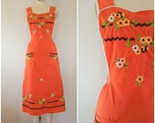 Vintage 1940s Pinafore Dress / Tangerine With Floral Embroidery / XS