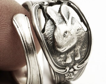 Bunny Ring, Spoon Ring Sterling Silver, Peter Rabbit, White Rabbit, Rabbit Ring, Bunny Jewelry, Eco Friendly, Adjustable Ring Size (4154)