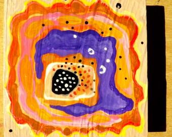flower, orange and purple flower, 4 x 4, original painting, acrylic painting, painting of flower, seeds of love