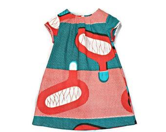 African print girl's dress, Ankara toddler dress, Kid's African print clothing, orange and teal, geometric pattern dress