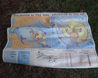Vintage French Map World Discovery Explorers Exploration La Decouverte Du Monde Large Double Sided School Maps circa 1978 / English Shop
