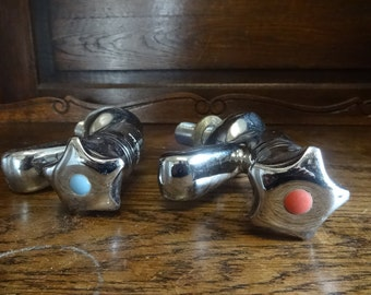 Vintage French sink bath faucet mains water tap plumbing hot cold taps pair circa 1970-80's / English Shop