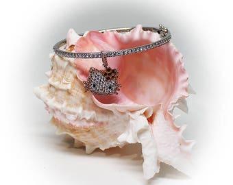 Sterling Silver Betty Boop Gemstone Bangle
