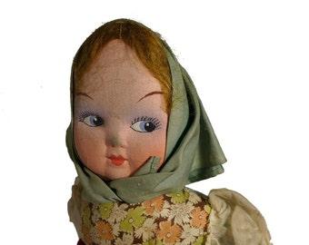 "Antique 1930s European Lenci Type 18"" Felt Doll Painted Cloth Mask Face"