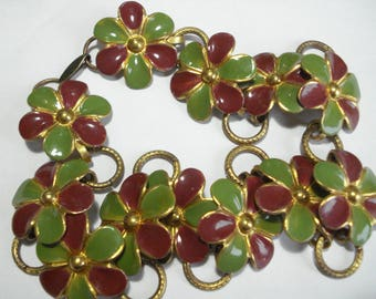 1930s Necklace Enamel Daisy Flowers Maroon and Green