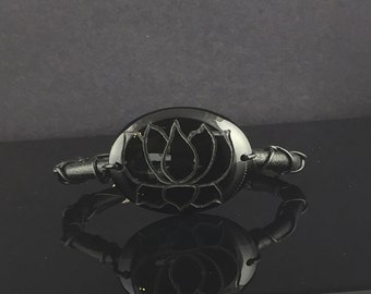Carved Lotus Flower and Leather Bracelet Handmade