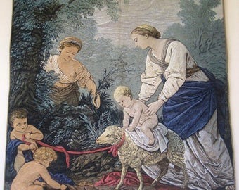 SALE French Hand Painted Tapestry From the Original La Bergere or The Shepherdess Charming Pastoral Scene