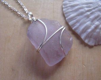 Sea Glass Jewelry Purple Sea Glass Pendant Soft Lilac Beach Glass Necklace