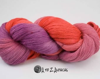 Lace Weight Alpaca Yarn Hand Dyed - Fruity Delight