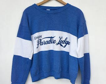 Vintage 70s Enjoy Paradise Lodge Heather Blue Sweatshirt M L