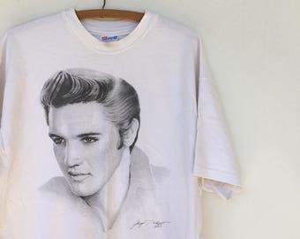 Vintage 80s Elvis Pencil Drawing Portrait 90s Mall Art Shirt XL
