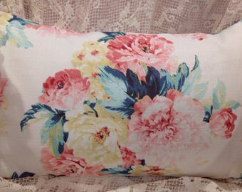 Shabby chic Pillow  cover cabbage roses and peonies lovely summer colors