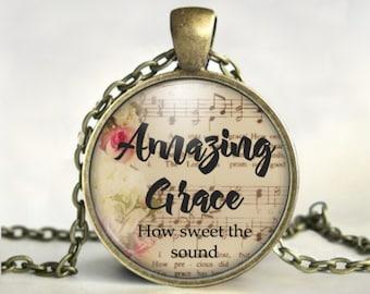 Amazing Grace Necklace - Religious Jewelry - Religious Gifts - Christian Gifts - Amazing Grace How Sweet the Sound - Gospel Music