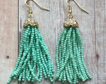 Nickel free!  Aqua chandelier earrings