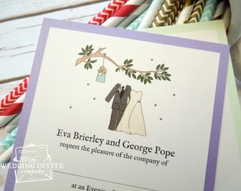 Summer Bride and Groom Postcard Wedding/Evening Invitations