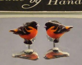 Oriole Stud earrings - Bird jewelry - Surgical Steel jewellery