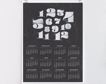 Monthly Numerals - 18x24 Oversized 2017 Calendar Engineering Print - Minimal Black and White Graphic Design, Typography Art Print