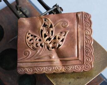 Antique huge brass belt buckle, original patina