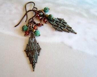Earrings-Earthy Filigree Dangles-Copper Patina-Mixed Metals