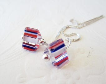 Red White and Blue-Threaders-Sterling Silver