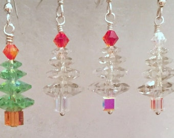 Swarovski AB Crystal Christmas Tree Earrings - Choose your color! Celebrate the Holidays in Style, SRAJD