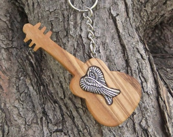 Hand carved Greek Olive Wood  key chain guitar inlaid with angel wings