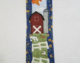 Applique Quilted Wall Hanging - Country Farm Scene with Button Animals
