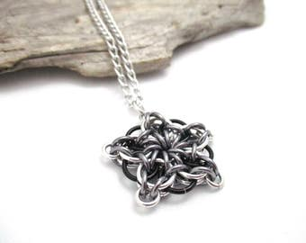 Chainmail Star - Star Chainmaille Pendant - Celtic Star Pendant Necklace - Black & Grey Chainmaille Pendant