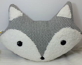 Grey and White Chevron Fox Plush Accent Throw Pillow