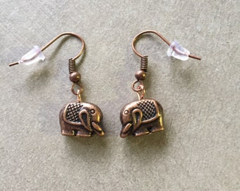 Antique Copper Elephant Earrings